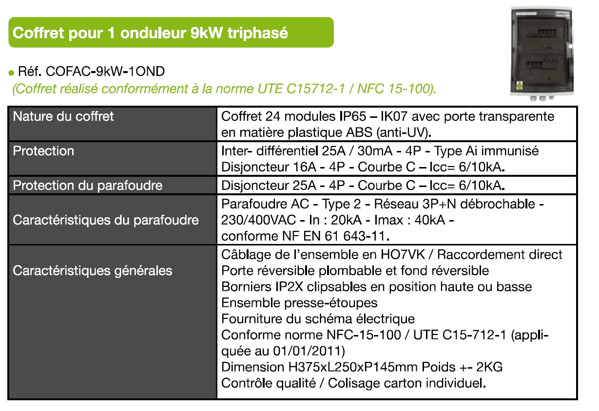 descriptif technique coffret AC triphase 9kW
